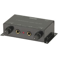 2 Channel Mixer with Microphone Preamp AM4201Takes your standard microphone level and boosts it for compatibility with line-level inputs.
