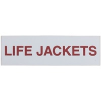 Adhesive Life Jackets Sign 100x30mm