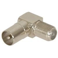 Adaptor 75 ohm TV Plug to F81 Socket Right Angle