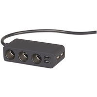 3 Way Lighter Socket Splitter with 4 USB Ports