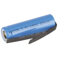 14500 Rechargeable Li-Ion Battery 800mAh 3.7V Solder Tag