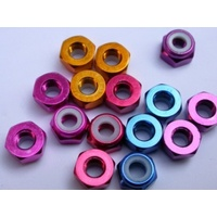 3mm Aluminium Nylon Nut Red (10)