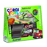 CORGI EMERGENCY SERVICES X 2 VEHICLES, PLAYMAT AND BUILDING